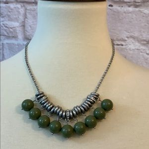 Lia Sophia Silver necklace, olive beads
